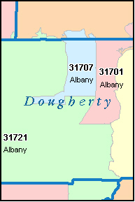 ALBANY Georgia, GA ZIP Code Map