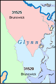 GLYNN County, GA ZIP Code Map
