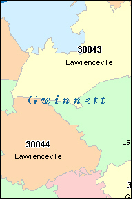 GWINNETT County, GA ZIP Code Map