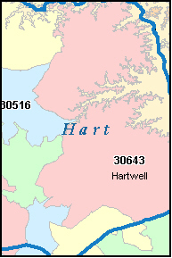 HARTWELL Georgia, GA ZIP Code Map