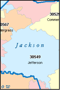 JACKSON County, GA ZIP Code Map