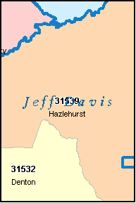 JEFF DAVIS County, GA ZIP Code Map