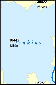 JENKINS County, GA ZIP Code Map
