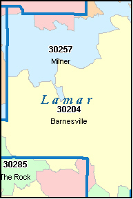 LAMAR County, GA ZIP Code Map