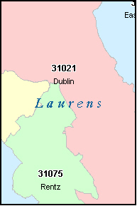 LAURENS County, GA ZIP Code Map