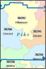 PIKE County, GA ZIP Code Map