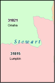 STEWART County, GA ZIP Code Map