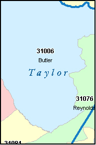 TAYLOR County, GA ZIP Code Map
