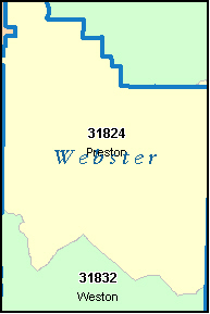 WEBSTER County, GA ZIP Code Map