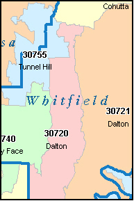 TUNNEL HILL Georgia, GA ZIP Code Map