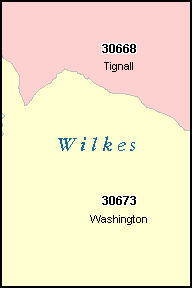 WILKES County, GA ZIP Code Map