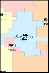 NEW HARTFORD Iowa, IA ZIP Code Map