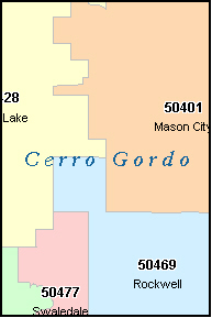 CERRO GORDO County, IA ZIP Code Map