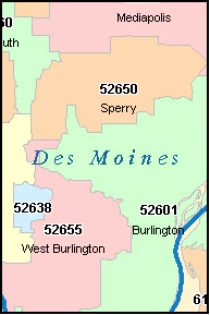 DES MOINES County, IA ZIP Code Map