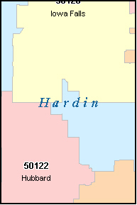 HARDIN County, IA ZIP Code Map
