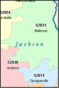 JACKSON County, IA ZIP Code Map