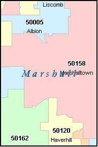 MARSHALL County, IA ZIP Code Map