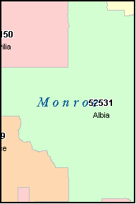 MONROE County, IA ZIP Code Map