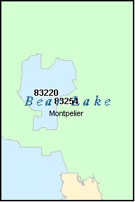 BEAR LAKE County, ID ZIP Code Map