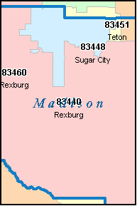 MADISON County, ID ZIP Code Map