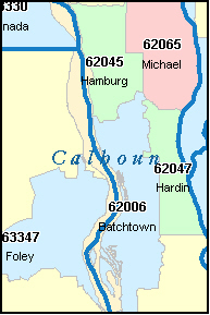 CALHOUN County, IL ZIP Code Map