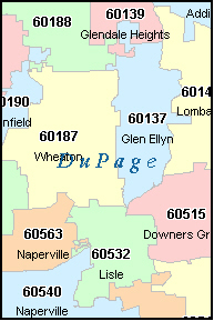 our aurora  il zip code map is