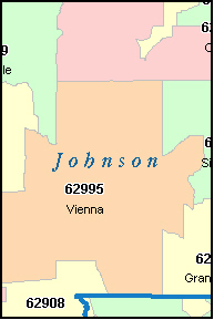 JOHNSON County, Illinois Digital ZIP Code Map