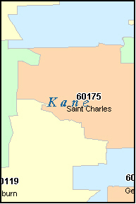 KANE County, IL ZIP Code Map