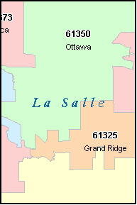 OTTAWA Illinois, IL ZIP Code Map