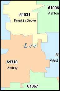 LEE County, IL ZIP Code Map
