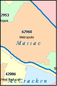 MASSAC County, IL ZIP Code Map