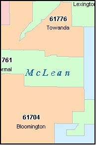 MCLEAN County, IL ZIP Code Map
