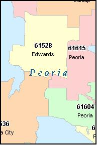 PEORIA Illinois, IL ZIP Code Map Downloads