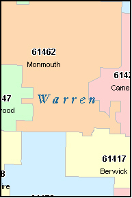 WARREN County, IL ZIP Code Map