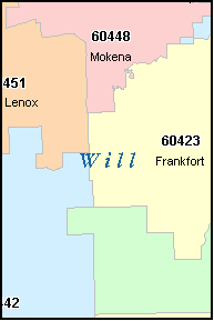WILL County Illinois Digital ZIP Code Map