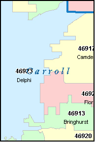 DELPHI Indiana, IN ZIP Code Map