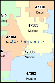 DELAWARE County, IN ZIP Code Map