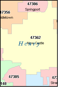 NEW CASTLE Indiana, IN ZIP Code Map