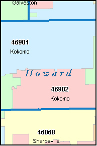 KOKOMO Indiana, IN ZIP Code Map