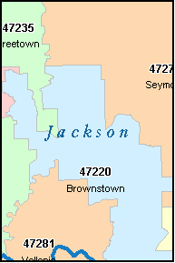 JACKSON County, IN ZIP Code Map