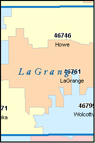 LAGRANGE County, IN ZIP Code Map