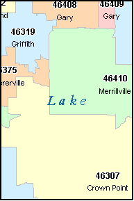 HAMMOND Indiana, IN ZIP Code Map