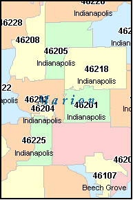 INDIANAPOLIS Indiana, IN ZIP Code Map