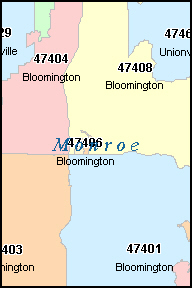 MONROE County, IN ZIP Code Map