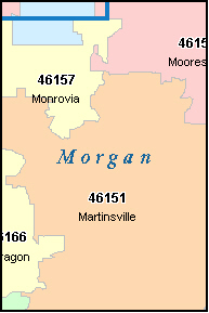 MORGAN County, IN ZIP Code Map