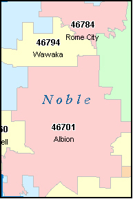 NOBLE County, IN ZIP Code Map