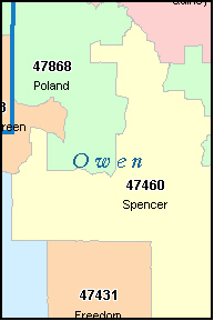 OWEN County, IN ZIP Code Map