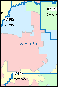AUSTIN Indiana, IN ZIP Code Map