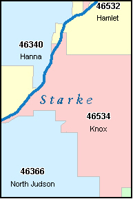 STARKE County, IN ZIP Code Map