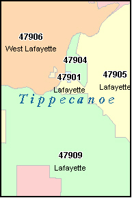 WEST LAFAYETTE Indiana, IN ZIP Code Map
